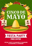 Cinco de Mayo mexican party banner invitation. Cinco de Mayo mexican holiday sombrero with festive food invitation banner for fiesta party template. Mexican hat Stock Image