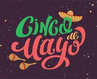 Cinco de Mayo Mexican holiday text banner for greeting card. Vector cartoon illustration Royalty Free Stock Photography