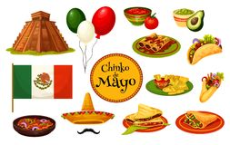 Cinco de Mayo mexican holiday traditional symbol. With festive food and flag. Latin American fiesta party sombrero, chili pepper and jalapeno, avocado guacamole Stock Photography