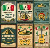 Cinco de Mayo and Viva Mexico retro poster design. Cinco de Mayo mexican holiday and Viva Mexico festive poster. Latin American fiesta party sombrero, maracas Stock Photography