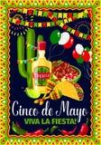 Cinco de Mayo Mexican-kaart van de vakantie de vectorgroet