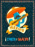 Cinco de mayo mexican mariachi cactus poster. Happy Cinco de Mayo party poster. Traditional mexican celebration illustration of funny mariachi cactus with