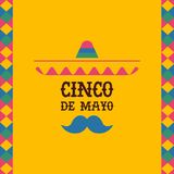 Cinco de mayo mexican mariachi sombrero quote card. Happy Cinco de mayo greeting card with mexican mariachi singer and holiday typography quote. Traditional Royalty Free Stock Photography