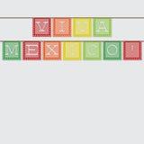 Cinco De Mayo. Mexican 'papel picado' (Paper flag decoration) card in format