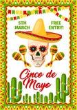 Cinco de Mayo Mexican-partij vectoruitnodiging