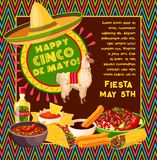 Cinco de Mayo vector Mexican celebration fiesta. Cinco de Mayo Mexican party celebration greeting card of traditional food jalapeno pepper, tequila and churros Royalty Free Stock Photo
