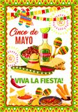 Cinco de Mayo Mexican vector fiesta greeting card. Cinco de Mayo Mexican party or Mexico traditional holiday fiesta greeting card. Vector design of Mexico flags Stock Photography