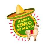 Cinco de Mayo mexican party sombrero greeting card. Happy Cinco de Mayo mexican holiday greeting card. Latin american spring festival sombrero hat and alpaca Stock Image