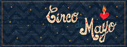 Cinco de mayo mexican party web banner quote. Cinco de mayo web banner for traditional mexican celebration event. Classic mexico style typography quote on royalty free illustration