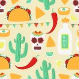 Cinco de mayo. Mexican seamless concept with taco stock illustration