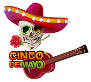 Cinco de Mayo. Mexican skull in sombrero holding rose teeth. Greeting card template Stock Photography