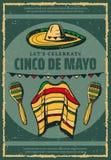 Cinco de Mayo Mexican sombrero retro sketch poster. Cinco de Mayo Mexican holiday celebration greeting card or retro sketch poster for Mexico traditional fiesta Stock Photography
