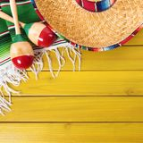 Cinco de mayo mexican sombrero wood background border. Cinco de mayo mexican background border royalty free stock image