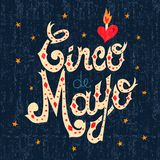 Cinco de mayo mexican text sign greeting card. Cinco de Mayo hand made text greeting card illustration of traditional mexican style font art for mexico party or Stock Photography