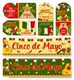 Cinco de Mayo Mexican-vakantie vectormarkeringen