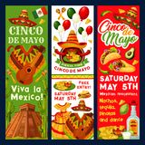 Cinco de Mayo Mexican vector fiesta invitation. Cinco de Mayo Mexican party invitation banners or holiday fiesta flyers for traditional Mexican celebration Royalty Free Stock Photography