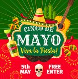Cinco de Mayo Mexican vector fiesta invitation. Cinco de Mayo Mexican party invitation card for Mexico traditional holiday fiesta. Vector flyer of Mexico flag Stock Photos