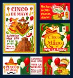 Cinco de Mayo Mexican vector fiesta invitations. Cinco de Mayo Mexican holiday fiesta invitation cards for free entry to party celebration. Vector Cinco de Mayo Royalty Free Stock Images