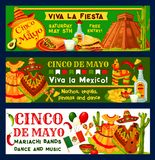 Cinco de Mayo Mexican vector fiesta party banners. Cinco de Mayo Mexican holiday fiesta celebration banners or party inivtaion cards. Vector traditional Mexican Stock Image
