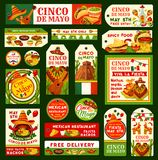 Cinco de Mayo Mexican vector fiesta tags. Cinco de Mayo greeting cards, tags, posters and banners for Mexican holiday or fiesta party invitation flyers. Vector Royalty Free Stock Photography
