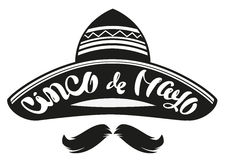 Cinco de Mayo. Mexican wide brimmed hat sombrero. Lettering text header for greeting card. On white vector illustration Stock Image