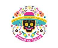 Cinco de Mayo mexicansk fiesta, ferieaffisch, partireklamblad, hälsningkort stock illustrationer