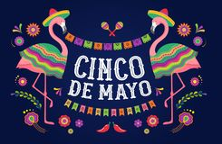 Cinco de mayo, mexicanskt Fiestabaner och affischdesign med flamingo, blommor, garneringar stock illustrationer