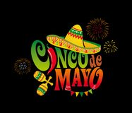 Cinco de mayo. Mexico. Lettering. Design element for poster, banner, postcard. Vector illustration on black background Stock Photography