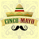 Cinco de Mayo Moustache. Vector Illustration with Mayan Inspired Background