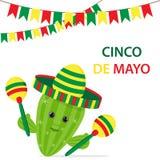 Cinco De Mayo multicolored sombrero, green cactus and maracas fe royalty free illustration