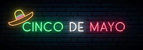 Cinco de Mayo neon banner. Mexican fiesta. Light signboard. Vector illustration stock illustration
