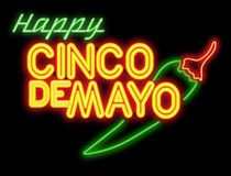 Cinco De Mayo NeonSign. Cinco deMayo De Mayo Neon Sign glowing glass chili pepper happy invitation art isolated fun royalty free stock photography