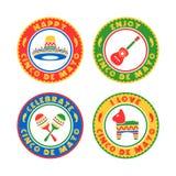 Cinco De Mayo odznaki Obraz Stock