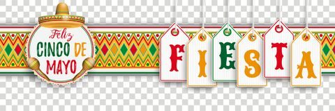 Cinco De Mayo Ornament Headline Emblem Fiesta. Banner with price stickers, mexican ornaments and colored emblem royalty free illustration