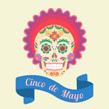 Cinco de Mayo, painted skull in national traditions of Mexico Royalty Free Stock Images