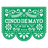 Cinco de Mayo Papel Picado vector design - Mexican paper decoration with pattern and text. Cut out paper template with flowers and abstract shapes, festive