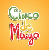 Cinco de mayo paper letters on orange background. Hand drawn lettering. Vector illustration Stock Images