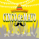 Cinco de mayo parti vektor illustrationer