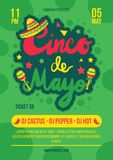 Cinco de mayo party, festival poster vector template. Mexican ethnic holiday, fiesta celebration royalty free illustration