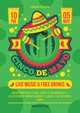 Cinco de mayo party, festival poster vector template. Mexican ethnic holiday, fiesta celebration vector illustration