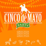 Cinco de mayo party. Hand made. Vector illustration Royalty Free Stock Image
