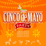 Cinco de mayo party. Hand made vector illustration stock illustration