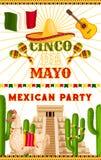 Mexican party Cinco de Mayo vector fiesta poster. Cinco de Mayo party invitation card or poster for Mexican traditional holiday fiesta celebration. Vector Stock Photo