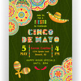 Cinco De Mayo party poster template. Text customized for invitation for fiesta celebration. Ornate text and details. Mexican maracas and sombrero at dark