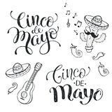 Cinco de mayo phrases. Hand written phrases for Mexican celebration of Cinco de Maya. Cinco de mayo wording isolated on white background. National mexican
