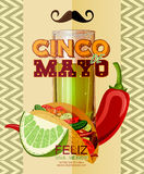 Cinco De Mayo Plakat mit Tequila, Paprika, Tacos Lizenzfreie Stockfotos