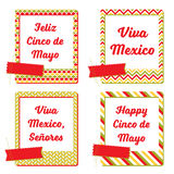 Cinco De Mayo postcards photo frames. Set of cards and notes with Mexican holiday patterned frames. Stock Photography