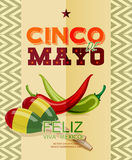 Cinco de Mayo. Poster with chili, Mexican maracas. Day victory at Puebla in Mexico Royalty Free Stock Images