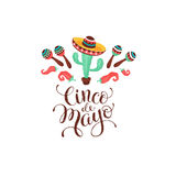 Cinco de Mayo poster. Cinco de Mayo composition. Poster with Mexican culture symbols and text. Guitar, sombrero, maracas, cactus and jalapeno isolated on light royalty free illustration