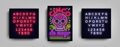 Cinco de Mayo poster design neon style template. Neon sign, bright light neon flyer, Mexican holiday. Invitation to. Party, festival, celebration, fiesta